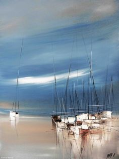 Painting, Acrylic by Olivier Messas (Allemagne) via Watercolor Landscape, Abstract Landscape, Abstract Art, Seascape Paintings, Landscape Paintings, Sailboat Painting, Boat Art, Open Art, Art En Ligne