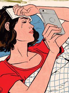 Incredible Illustrations by Patrick Leger Satirical Illustrations, Vintage Illustrations, Social Media Art, Taylor Swift Videos, Visual Metaphor, Digital Detox, Retro Pop, Sad Art, Arte Pop
