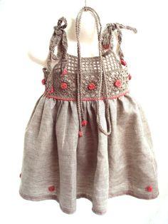 organic flax linen dress /crochet /sew organic por TheBabemuse