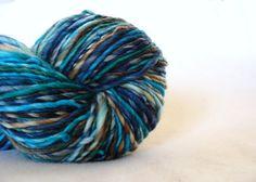 Handspun Superwash Merino Art Yarn Hand Dyed by Calico Blue TailsandSnouts