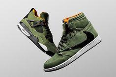 bd7d19c107d791 Air Jordan 1   4 Customs for Travis Scott by The Shoe Surgeon. First Air  JordansCustom SneakersShoes SneakersHigh Top ...