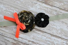 Real Tree Camo Rolled Rossette with Black Ribbon by PunkinDoodlez, $5.99