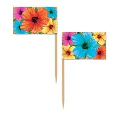 Place these Hibiscus Picks in your different finger foods at your luau themed party to keep with your theme even in the serving of your food. The Hibiscus Picks each have different sizes of Hibiscus flowers on them in different colors. #luauparty  #partycheap