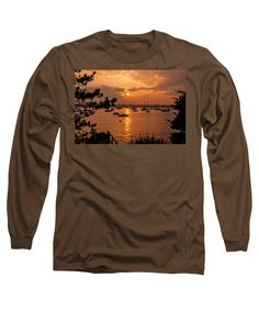 Image By Jeff Folger Long Sleeve T-Shirt featuring the photograph Sunset On Salem Harbor by Jeff Folger