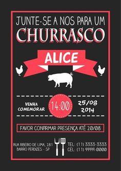 10 Convites para Churrasco Prontos para Editar – Modelos de Convite Barbacoa, 27th Birthday, Holidays And Events, Open House, Chalkboard, Bbq, Invitations, Sandrinha, Prado