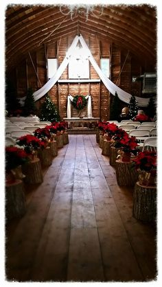 Beautiful Christmas wedding at The Barn at Dunvilla. Love the simple pointsettas on the wood stumps. Barn Wedding Photos, Barn Wedding Venue, Wedding Ceremony, Rustic Wedding, Wedding Signs, Wedding Ideas, Wedding Simple, Church Wedding, Wedding Pictures