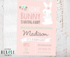 BUNNY BABY SHOWER Invitation Girl Baby by littlebirdieprints