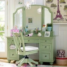 LOVE this green vanity and vintage office chair