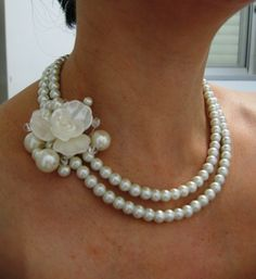 Fleur  -  Ivory Swarovski Pearls Necklace, Weddings  pearl necklace - Made to Order. $48.00, via Etsy.