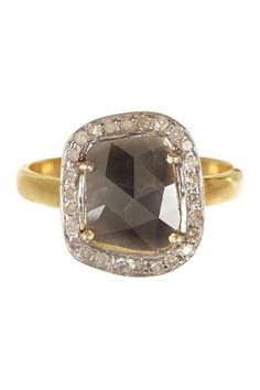 Sliced Black & White Diamond Ring. i love its imperfect shape