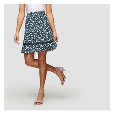 Floral Flounce Hem Skirt