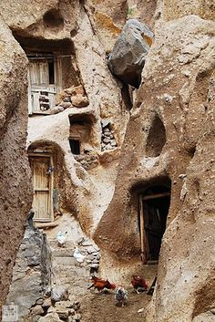 Kandovan (also spelled Candovan), a village in the province of East Azarbaijan, near Osku and Tabriz, Iran. Known for its troglodyte dwellings, some of the houses are at least 700 years old and are still inhabited.