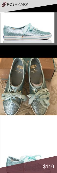 """KATE SPADE FOR KEDS GLITTER 9 """"TIFFANY BLUE"""" NIB Kate Spade NY for Keds Champion Glitter fashion sneakers in """" air blue"""" size 9, rare color, perfect for the Tiffany blue lover!   If you're looking to make a statement, look no further than these kate spade new york shoes. Satin laces and sublime sparkle grace these glitter shoes with all the comfort of your favorite sneakers. kate spade new york  Canvas upper in crushed glitter Two sets of laces! Tonal ribbon lace and cotton laces Soft…"""
