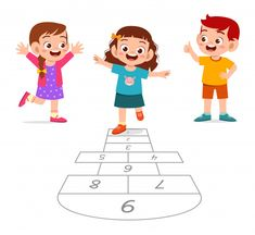 Happy cute little kid boy and girl play . Cartoon Pics, Girl Cartoon, Art Drawings For Kids, Art For Kids, Crying Kids, Cartoon Background, Cute Clipart, Hopscotch, Boys Playing