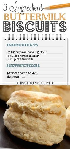 The BEST Buttermilk Biscuits Easy homemade buttermilk biscuits made from scratch using just 3 ingredients! Self rising flour makes. Homemade Buttermilk Biscuits, Flaky Biscuits, Buttermilk Recipes, Keto Biscuits, Cakes Made With Buttermilk, Buttermilk Uses, Mayonaise Biscuits, Biscuits Self Rising Flour, Easy Biscuit Recipe Using Self Rising Flour