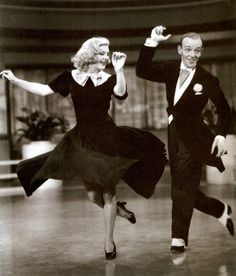 "Fred Astaire and Ginger Rogers tap dancing in ""Swing Time"".  THE best dancers of all time!"
