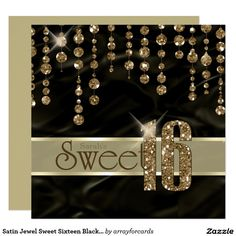 Satin Jewel Sweet Sixteen Black Gold ID260 Card.....This elegant Sweet Sixteen invitation features a giant, gold faux-glitter '16' and ribbon over a black satin-effect background adorned with a pattern of hanging jewels. Specify your event details on the back using the custom template. Search ID260 to see other color options and other products with this design.