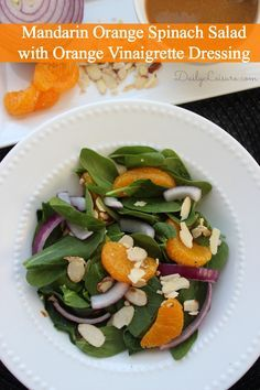 Mandarin Orange Spinach Salad with Orange Vinaigrette Dressing recipe. Perfect healthy lunch or dinner (add chicken to beef it up) that combines fruit and vegetables