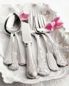 """90-Piece """"Hotel"""" Flatware Service by Towle Silversmiths at Horchow. Fine Hotels, Sterling Silver Flatware, Stainless Steel Flatware, Flatware Set, Silverware Sets, Vintage Cutlery, Plaque, Tablescapes, Knife Making"""