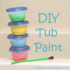 Bathtub paint. Only 3 ingredients. Would feel better using alternative to cornstarch, such as tapioca.