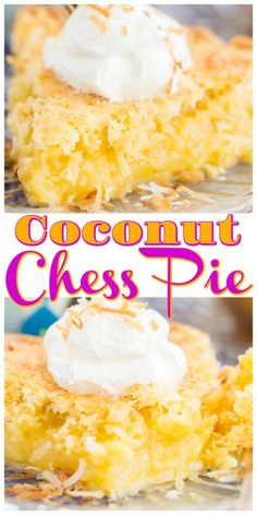 This Coconut Chess Pie doesn't get much easier, and it's a sweet-tooth and coconut-lovers' dream! Super simple ingredients, and minimal prep! Amish Recipes, Pie Recipes, Baking Recipes, Lemon Chess Pie, Pumpkin Crisp, Coconut Desserts, Toasted Coconut, Coconut Cream, No Bake Pies
