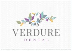 Logo for sale by Melanie D: Natural modern dental themed logo design. Leafy vines with growing leaves create the impression of a molar tooth. The design is elegant and sophisticated with a natural organic feel. The leaves are textured to create a rustic appearance. The tooth is very subtle in the design, naturally blending in with the leaves to create a subtle yet modern design.