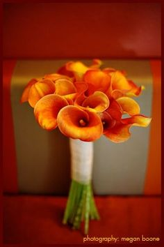 Orange calla lily bouquet for bridesmaids