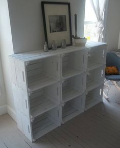 Possibly single storage for shoe rack under children's bag/coat hooks. Crate Storage Bookshelf bookcase @ DIY Home Ideas, id like this except screwed into the wall up off the floor enough that the kids can't reach! Crate Storage, Home Projects, Diy Furniture, Bookshelves, Home Decor, Bookcase Diy, Home Deco, Home Diy, Shelving