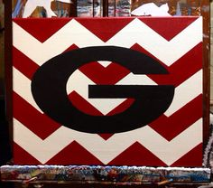 UGA Chevron / Go Dawgs / Georgia Bulldogs - 11x14 on Canvas on Etsy, $25.00