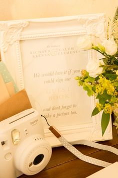 Guest Book Photo Camera Fullerton Estate Wedding Hannah Larkin Photography #GuestBook #Wedding