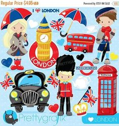 BUY 20 GET 10 OFF London clipart for scrapbooking British London graphics commercial use vector graphics digital clip art images - by Prettygrafikdesign Kit Scrapbook, Digital Scrapbook Paper, Digital Stamps, Scrapbooking, Digital Art, Travel Clipart, Image Paper, Uk Flag, Create Invitations