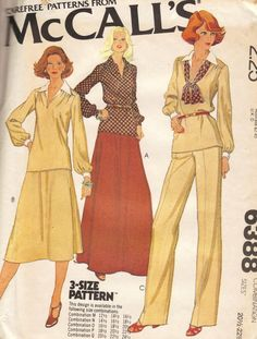 Solía 6388, mitad de tamaño de tapa, falda y pantalones: top tiene línea de hombro hacia delante, cuello, mangas largas en Jersey abotonado puños; compra la correa es opcional. Falda y pantalones con cremallera trasera y cubierta de cintura elástica. Se puede atar alrededor del cuello o cintura.  Tamaño: 20 1/2-22 1/2-24 1/2 Busto: 43-45 - 47 Cintura: 37 1/2-40 - 42 1/2 Cadera: 45 1/2-48 - 50 1/2 Autor: 1978  Este patrón es sin cortes y doblado de fábrica. La envoltura tiene tattering…