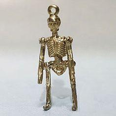14k gold vintage SKELETON w MOVING ARMS & LEGS charm