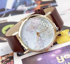 world map watch brown leather bracelet wrap watch  from yourlifestyle by DaWanda.com
