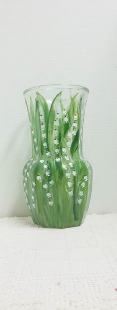 Vase Glass, Hand Painted, My Garden, Lily of the Valley, Folkart Style Design,