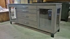 jasmine server in clay stain - solid maple - handmade steel legs and hardware