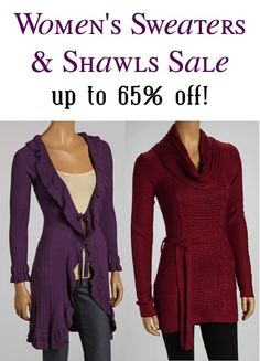 Women' Sweaters and Shawls Sale ~ up to 65% off!.... I wonder why? Walmart not having a sale that day