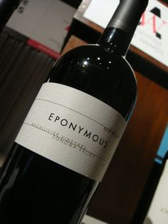 Wine tasted at the Judges Seminar: Eponymus. Blend 2008. Sonoma Valley, Mayacamus Range. USA.