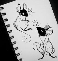 Dark Art Drawings, Art Drawings Sketches, Animal Drawings, Cute Drawings, Creature Drawings, Cartoon Kunst, Cartoon Art, Art And Illustration, Creepy Art