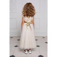 Длинное золотистое платье для девочки (с рукавом)