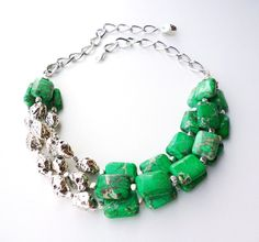 Green and Silver Triple Strand Statement Necklace by BigSkiesJewellery, $84.00