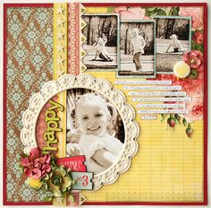 Happy designed by Jana Eubank for Pink Paislee. Circle around photo and title.