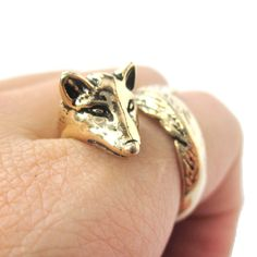 Fox Animal Ring Wrapped Around Your Finger in Shiny Gold   Sizes 5 - 9