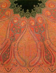 Paisley pattern Kashmir shawl made in India for the European market about 1860.