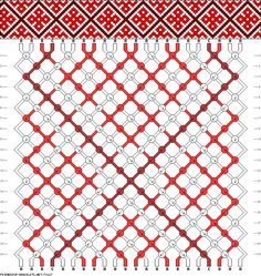 Friendship bracelet pattern - flowers, grid, diamonds - 22 strings - 3 colors