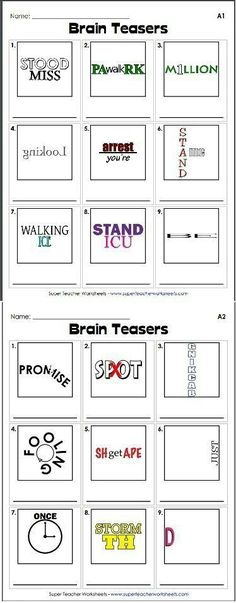Teach Your Child to Read - Check out our collection of brain teasers, like this rebus puzzle! These printable activities help students develop critical thinking skills. - Give Your Child a Head Start, and.Pave the Way for a Bright, Successful Future. Classroom Fun, Classroom Activities, Team Building Activities For Adults, 6th Grade Activities, Early Finishers Activities, Literacy Activities, Beginning Of School, First Day Of School, High School