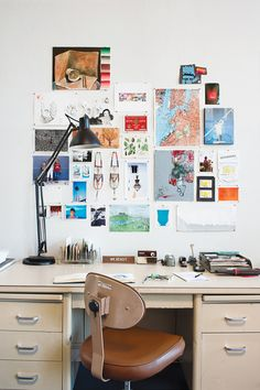 Trendy home office vintage desk interior design ideas Workspace Inspiration, Room Inspiration, Office Workspace, Trendy Home, Home Office Decor, Office Interiors, Home Interior Design, Storage Spaces, Wall Collage