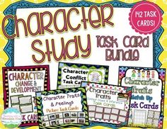 Character Study Task Card Bundle (Differentiated & Common Core) Over 140 bundled and discounted character study task cards to complete your character study! The cards in this bundle cover character traits using both text and pictures, character feelings, inferring character traits, how and why characters change over time, and character conflict.  A MUST HAVE for studying characters in grades 4+! $