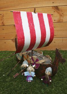 DIY juice carton Viking longboat and figurines