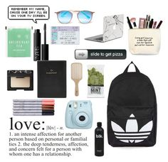"""""""what's in my bag-my backpack"""" by ellabroadway ❤ liked on Polyvore featuring Topshop, Ray-Ban, NARS Cosmetics, WALL, Philip Kingsley, Fujifilm and FOSSIL"""